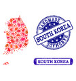 handmade composition of map of south korea and vector image