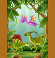 happy dinosaurs living in the jungle vector image vector image