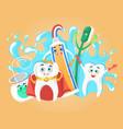 happy healthy teeth toothbrush toothpaste vector image
