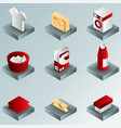 laundry color gradient isometric icons vector image vector image