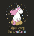 magic unicorn in cartoon style with lettering vector image