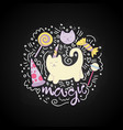 magical cat cartoon fun among vector image vector image