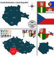map of south bohemian czech republic vector image vector image