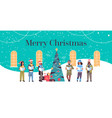 mix race people reading books merry christmas vector image vector image