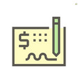 money check icon design for financial graphic vector image