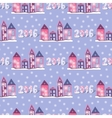 New year background with cute houses Seamless vector image
