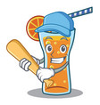playing baseball cocktail character cartoon style vector image