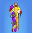 pop art bearded man with snowboard vector image