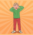 pop art screaming boy tearing his hair aggressive vector image vector image