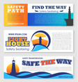 sea transportation safety banner with lighthouse vector image vector image