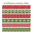 Set of vintage christmas washi tapes ribbons vector image vector image