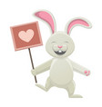 smiling white bunny holding poster with heart vector image vector image