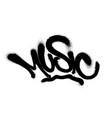 sprayed music font graffiti with overspray vector image