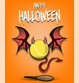 tennis ball with horns wings and devil tail vector image vector image
