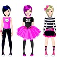 three emo stile girls vector image vector image