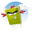 toon bird book character flying vector image vector image