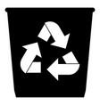 trash basket icon black color icon with vector image