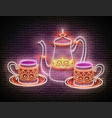 vintage glow signboard with a metal cups and pot vector image