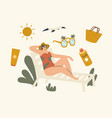 woman lounging on chaise lounge under sun rays vector image vector image