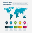 world map infographic steps info arrow concept vector image vector image