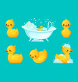 yellow bath duck bathroom tub with foam relaxing vector image