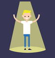 young successful blond boy standing in the vector image vector image