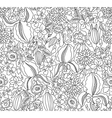 Black and white floral sketch seamless vector image