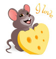 lovely mouse with cheese vector image