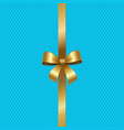 tied gold bow with ribbon in center of blue vector image