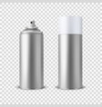 3d realistic silver blank spray can spray vector image vector image
