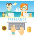 about freelancers life with working vector image