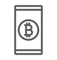 bitcoin app line icon finance and money mobile vector image vector image