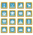 canada travel icons set sapphirine square vector image vector image