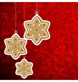 Christmas background with gingerbread stars vector image