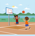 cute little kids are playing basketball on a court vector image vector image