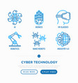 cyber technology thin line icons set ai virtual