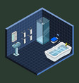 deep blue walls bathroom isometric interior view vector image