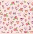 doodle bear cat and a bird pattern vector image vector image