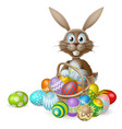easter bunny with eggs basket vector image vector image