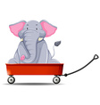 Elephant in the red wagon vector image vector image