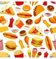 Fast food snacks and drinks seamless pattern vector image vector image