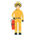 fire fighter holding an extinguisher vector image