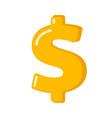 golden dollar sign cartoon vector image