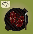 grilling steaks on grill - top view vector image vector image