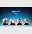 halloween character element design in glass dome vector image