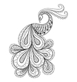 Hand drawn peacock for antistress Coloring Page vector image