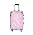 hand drawn sketch suitcase in pink color vector image