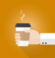 hand holding paper cup of coffee flat design vector image vector image