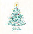 handwritten words in christmas tree shape vector image vector image