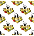 Happy cartoon cheese sandwich seamless pattern vector image vector image